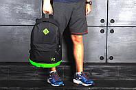 Рюкзак городской спортивный, для ноутбука, мужской, женский, черный-салатовый