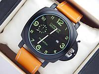 Мужские кварцевые наручные часы Panerai Luminor Marina - светло коричневый ремешок