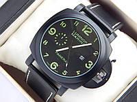 Мужские кварцевые наручные часы Panerai Luminor Marina - черныый ремешок