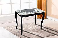 Стол кухонный Смарт черный со стеклом цветы