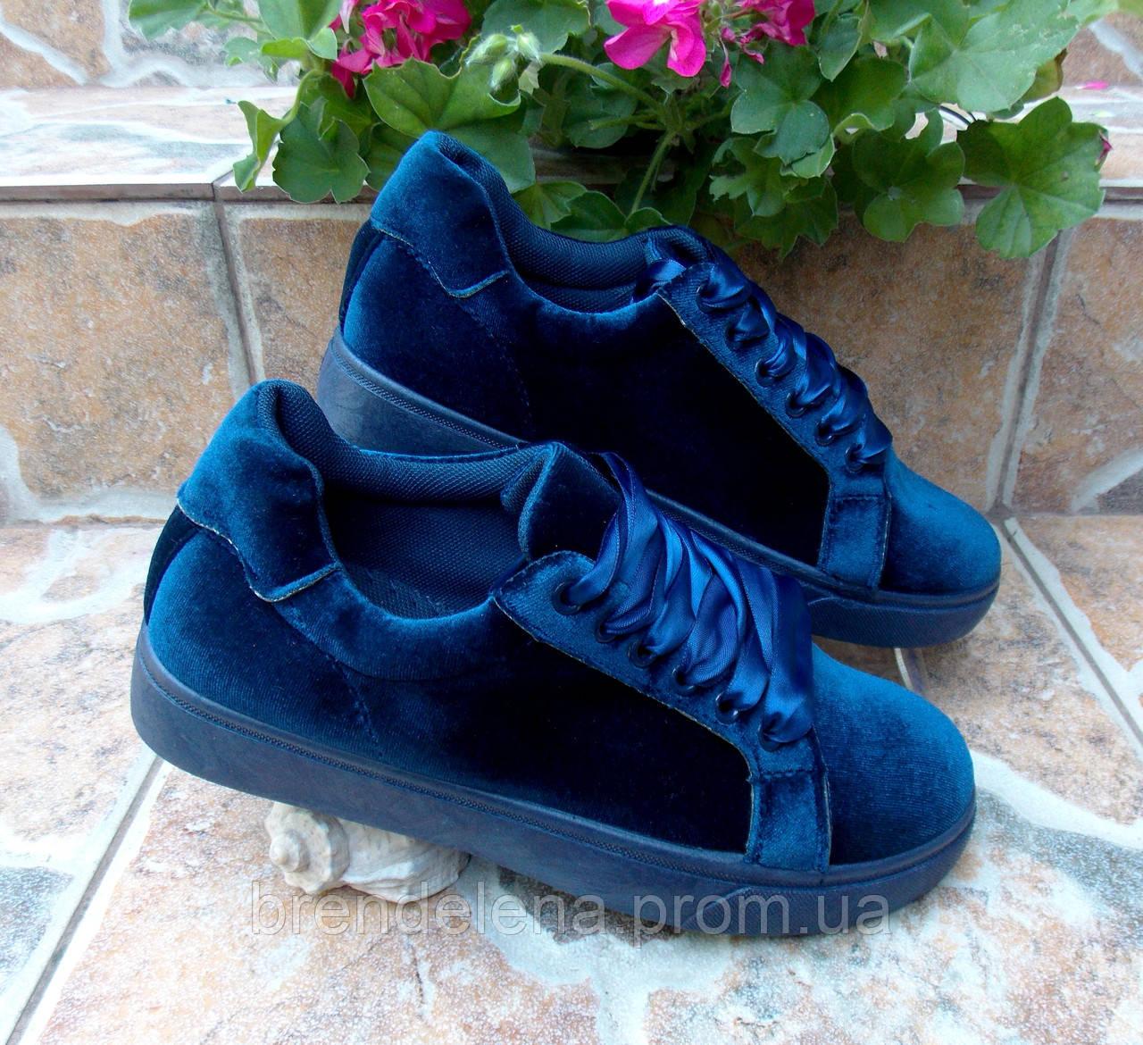 cdd05b325 Женские стильные велюровые кеды-кроссовки синие р 36-38 - интернет-магазин