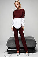 Женский бордовый спортивный костюм-двойка Шанди Jadone  42-48  размеры