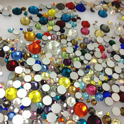 Стразы для ногтей (стекло) цветные mix size упаковка (720 шт.)