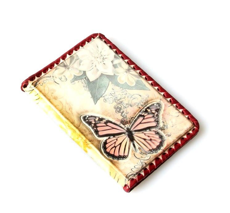 """Обложка на паспорт из натуральной кожи с ручной оплеткой """"Бабочка"""" (Арт Кажан)"""