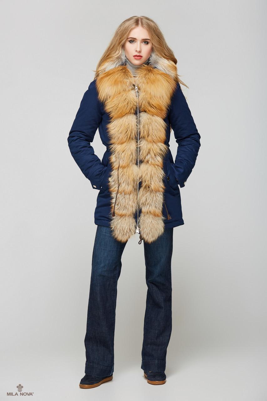 Женская зимняя куртка-парка с натуральным мехом Gold Fox