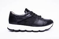 Кроссовки №374-21 черная кожа + пони, фото 1