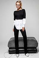 Женский черный спортивный костюм-двойка Шанди Jadone  42-48  размеры