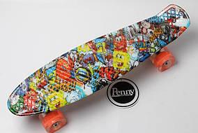 """Penny Board """"Graffiti"""" Sponge Bob. Светящиеся колеса"""