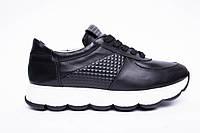 Кроссовки №374-23 черная кожа + карбон