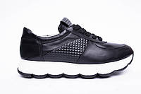 Кроссовки №374-23 черная кожа + карбон, фото 1