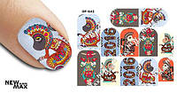 Слайдер дизайн для ногтей OF-642 (Новый Год, обезьянки)