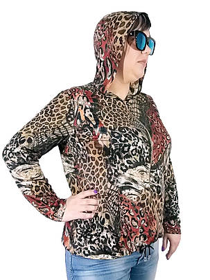 Женская Олимпийка Батал лайкра  цветной леопард, фото 2