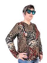 Женская Олимпийка Батал лайкра  цветной леопард, фото 3