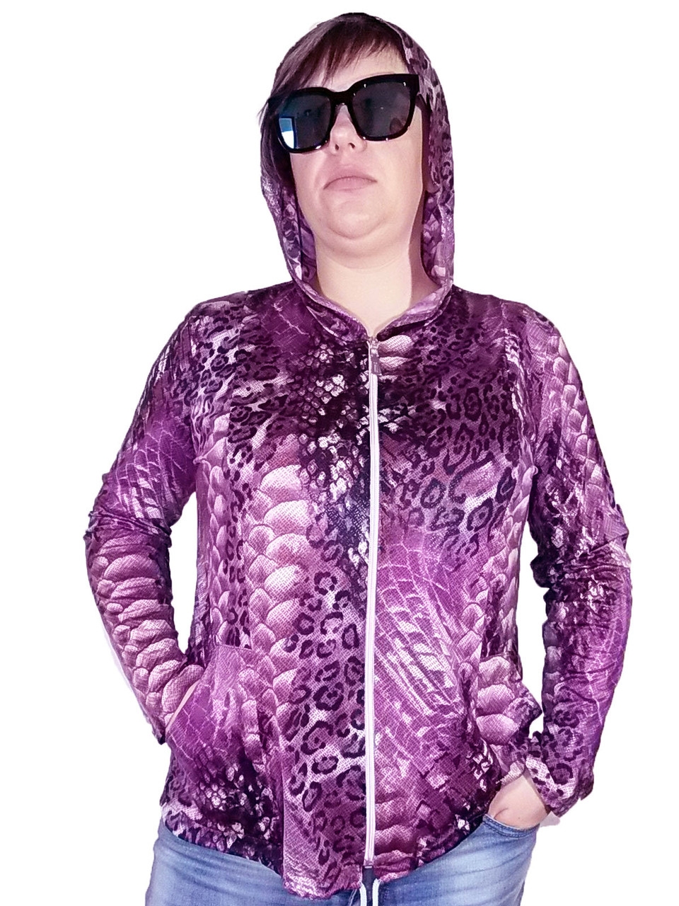 Женская Олимпийка Батал лайкра фиолетовая змея