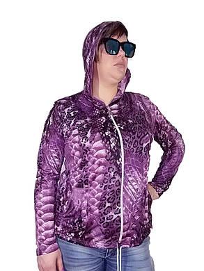 Женская Олимпийка Батал лайкра фиолетовая змея, фото 2