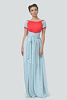 Романтичное прилегающее платье в пол с коротким рукавом-регланом и широким вырезом-лодочкой