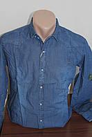Мужская рубашка DFX джинс, длинный рукав, увеличенная серия
