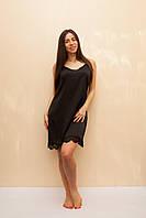 Шёлковая ночная сорочка чёрного цвета