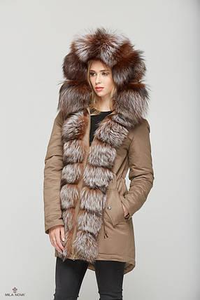Женская зимняя куртка-парка с натуральным мехом разных цветов, фото 2