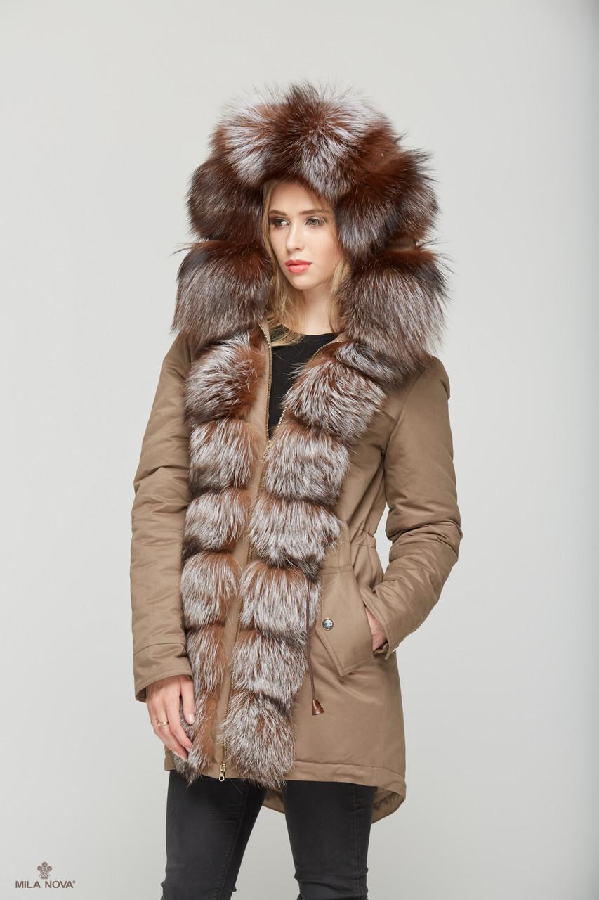 Женская зимняя куртка-парка с натуральным мехом разных цветов