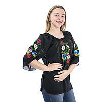 Женские вышиванки ручной роботы черные с цветами