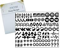 Deep design трафарет для ногтей 244 (логотипы и символы)