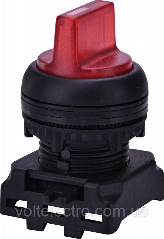 """Переключатель трехпозиционный """"1-0-2"""" EGS3I-NN-R, с подсветкой, с фиксацией, красный"""