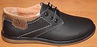 Туфли кожаные черные для мальчика, кожаная подростковая обувь от производителя модель ВА200ЧФШ