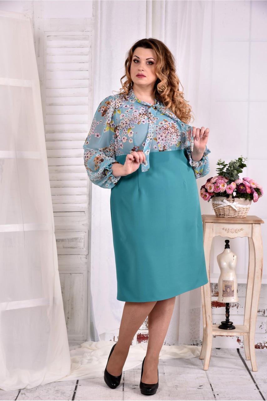Женское бирюзовое платье с цветочками 0581 размер 42-74 / больших размеров