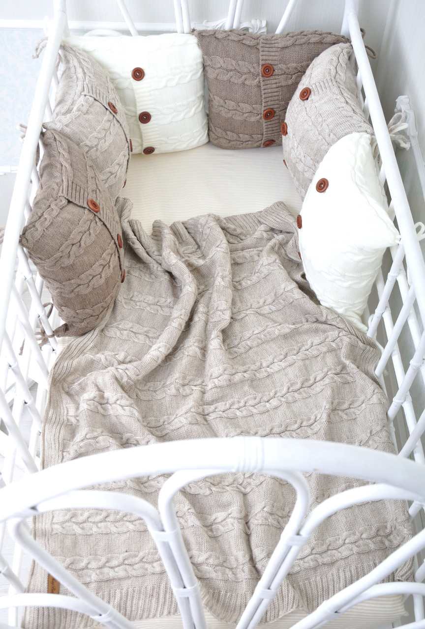 Комплект вязаных бортиков в кроватку, бежевый