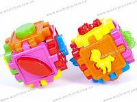 Логический куб-сортер, с животными. 10*10*10см в пакете /20/(50-102)