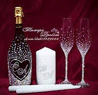 Набор свадебных аксессуаров в стразах (бокалы 26,3см, шампанское, свечи)