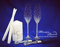 Набор свадебных аксессуаров в стразах (бокалы 26,3см, приборы для торта, свечи)