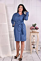 Женское платье - рубашка на каждый день цвет голубой 0579 размер 42-74 / больших размеров
