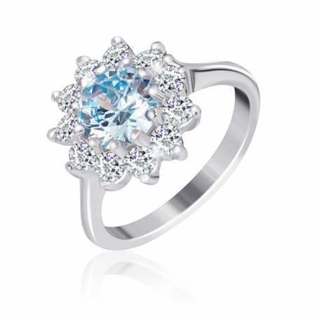 """Серебряное кольцо с имитацией топаза """"379"""""""
