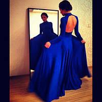Платье в пол трикотажное с открытой спиной и длинным рукавом, пояс на талии