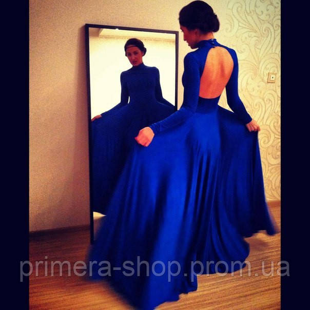 8e817761c56 Платье в пол трикотажное с открытой спиной и длинным рукавом