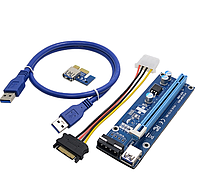 Райзер молекс (Pci riser) Molex v.007 PCI-E 1X to 16X 60 см кабель