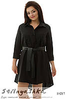 Асимметричная туника-рубашка большого размера черная