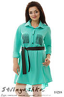 Асимметричная туника-рубашка большого размера бирюза