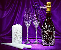 Набор свадебных аксессуаров в стразах (бокалы, шампанское, свечи)