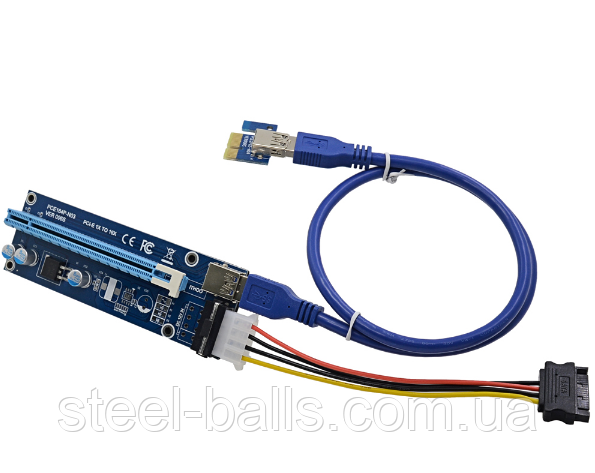 Райзер Molex v.006 PCI-E 1X to 16X 60 см кабель