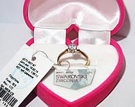 Золотое кольцо с камнем Сваровски 80536-СВ, фото 1