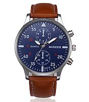 Наручные мужские часы с коричневым ремешком код 295