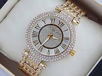 Золотистые женские наручные часы копия Michael Kors в стразах с римскими цифрами