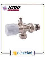 Icma 2-х угловой вентиль со встроенным воздухоотводчиком и с возможность установки термоголовки. Арт. 866
