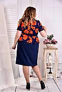 Женское платье с баской принт маки 0575 размер 42-74 / больших размеров , фото 4