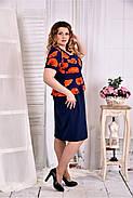 Женское платье с баской принт маки 0575 размер 42-74 / больших размеров , фото 2