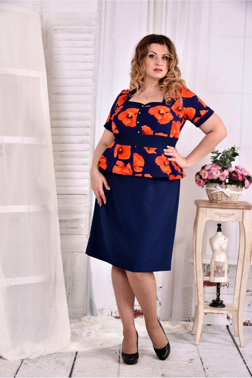 Женское платье с баской принт маки 0575 размер 42-74 / больших размеров