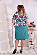 Женское платье с баской цвет бирюза 0575 размер 42-74 / больших размеров , фото 4